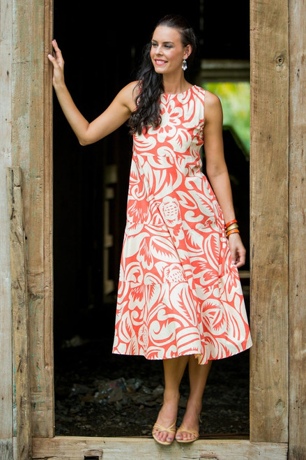 Orange Ginger Blossom Floral Patterned Knee Length Dress 'Ginger Blossom'