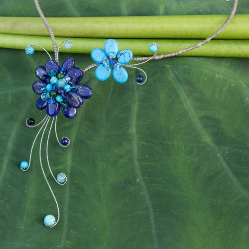 Artisan Crafted Lapis Lazuli Flower Necklace 'Gorgeous Blossom'