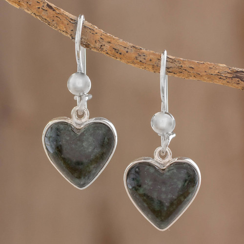 Hand Made Heart Shaped Sterling Silver Dangle Jade Earrings 'Wild Heart'