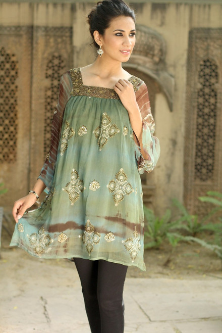 Long Shibori-Dyed Green and Brown Tunic Top with Sequins 'Glorious Jaipur'