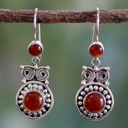 Handcrafted Indian Sterling Silver and Carnelian Earrings 'Fire Owl'