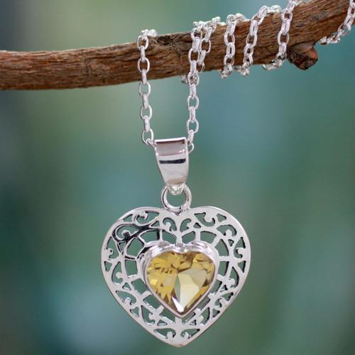 Citrine heart necklace 'Mughal Romance'