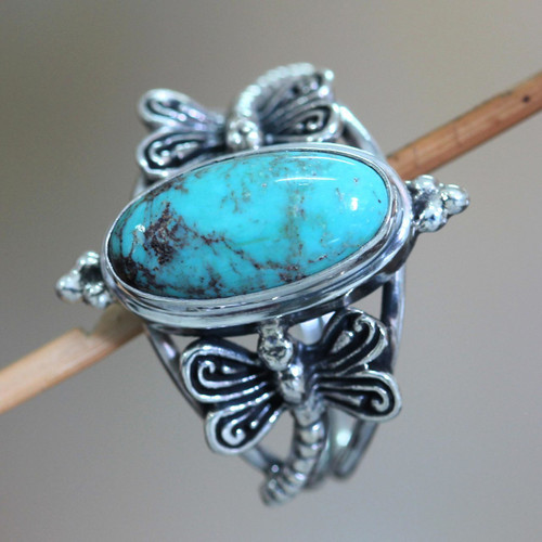 Magnesite and Sterling Silver Cocktail Ring 'Dragonfly Sky'