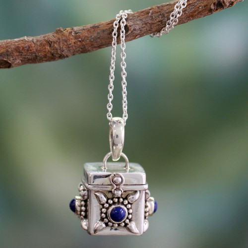 Fair Trade Sterling Silver and Lapis Lazuli Locket Necklace 'Royal Prayer'