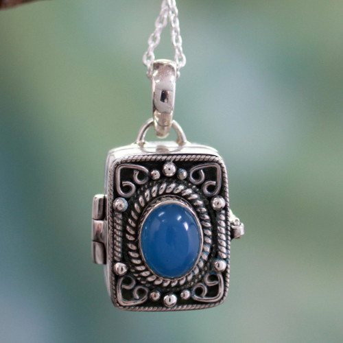 Hand Made Sterling Silver and Chalcedony Locket Necklace 'Secret Prayer'