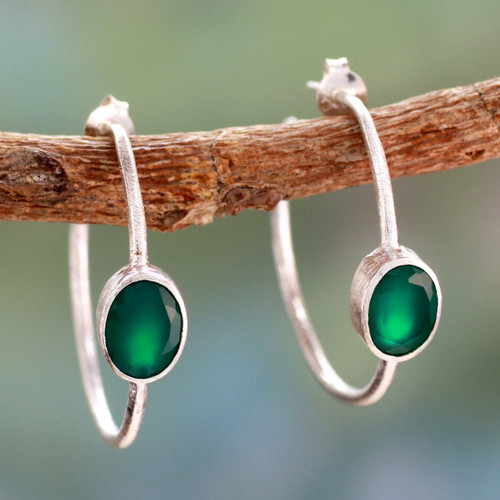 Modern Minimalist Green Onyx Earrings 'Contemporary Green'