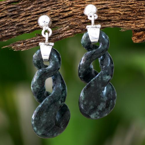 Artisan Made Green Jade Dangle Earrings 'Green Tornado'
