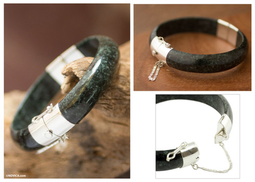 Artisan Crafted Maya Jade and Silver Bangle Bracelet 'Verdant Moon'