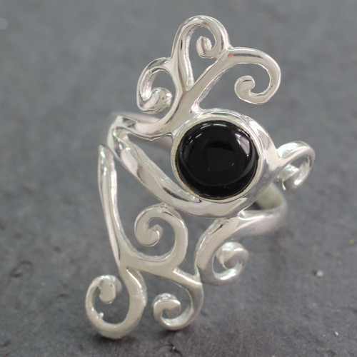 Sterling Silver Cocktail Ring with Black Onyx from India 'Black Jasmine'