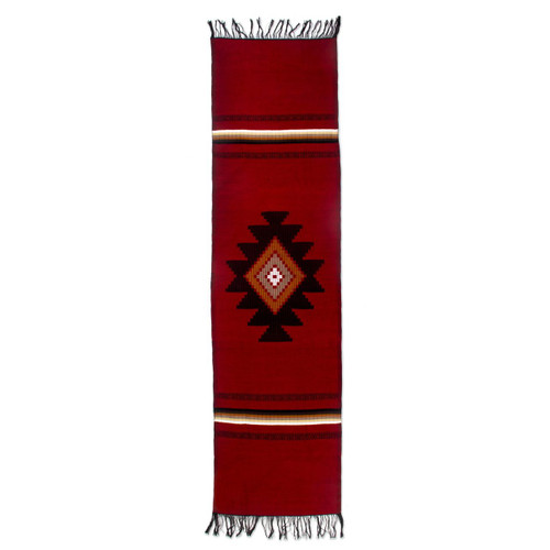 Hand Woven Cotton Table Runner 'Red Totonicapan Sun'