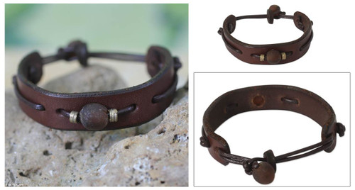 Men's Modern Leather Wristband Bracelet 'Brown Standout'
