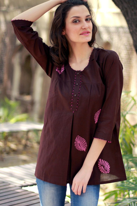Artisan Crafted Cotton Embellished Solid Tunic Top 'Coffee Rose'