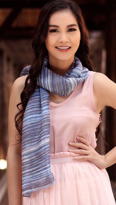 Batik Silk Scarf 'Mae Nam Khong Waters'