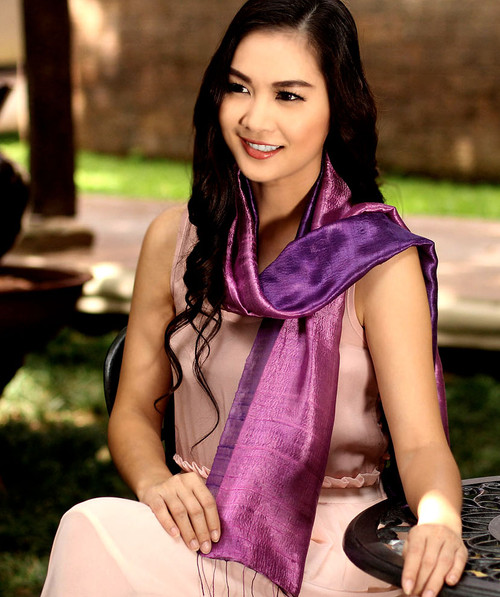 Handmade Purple Silk Scarf from Thailand 'Violet Duality'