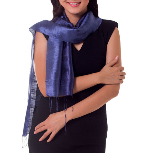 Handcrafted Batik Silk Scarf 'Bluebell Duality'
