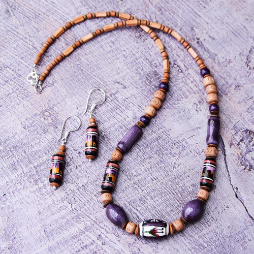 Unique Ceramic Beaded Jewelry Set 'Inca Tulip'