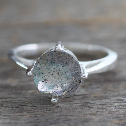 Labradorite Solitaire Ring in Sterling Silver from India 'India Enthusiasm'