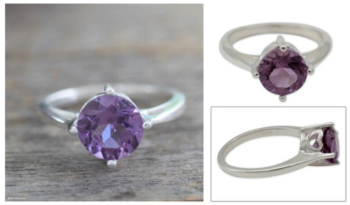 Hand Made Amethyst Solitaire Ring 'India Wisdom'