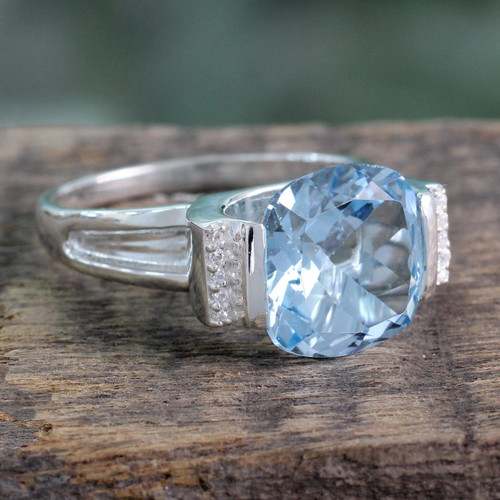 Hand Made Sterling Silver Single Stone Blue Topaz Ring 'India Royal'
