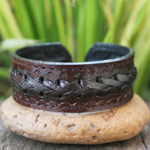 Men's Artisan Crafted Leather Cuff Bracelet 'Brown Braided Path'
