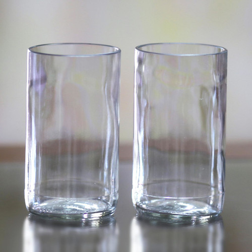 Artisan Crafted Recycled Clear Drinking Glasses (Pair) 'Clear Sky'