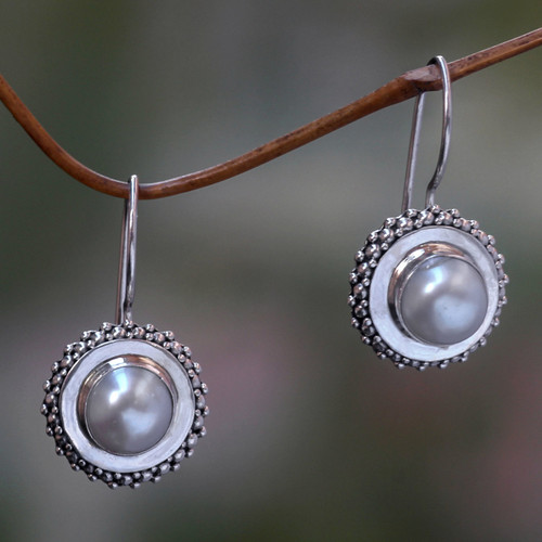 Pearl and Silver Drop Earrings 'Moon Halo'