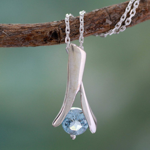 Indian Sterling Silver and Blue Topaz Necklace 'Silver Flare'