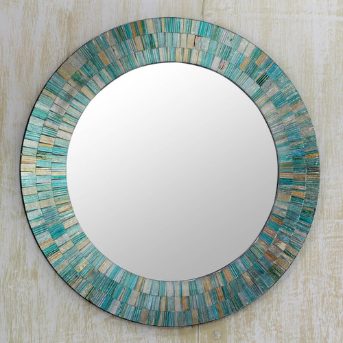 Hand Made Mosaic Wood Glass Mirror 'Aqua Fantasy'