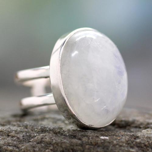 Rainbow Moonstone Cocktail Ring Artisan Silver Jewelry 'Radiant Light'