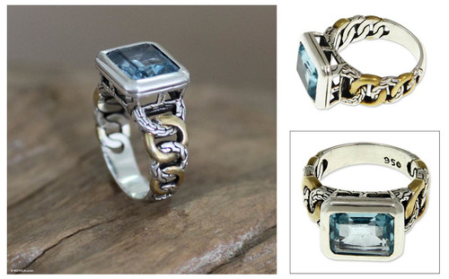 Gold accent blue topaz solitaire ring 'Bali Sky'