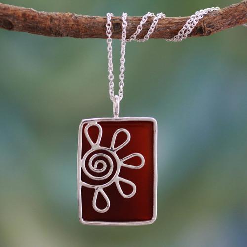 Onyx pendant necklace 'Crimson Blossom'