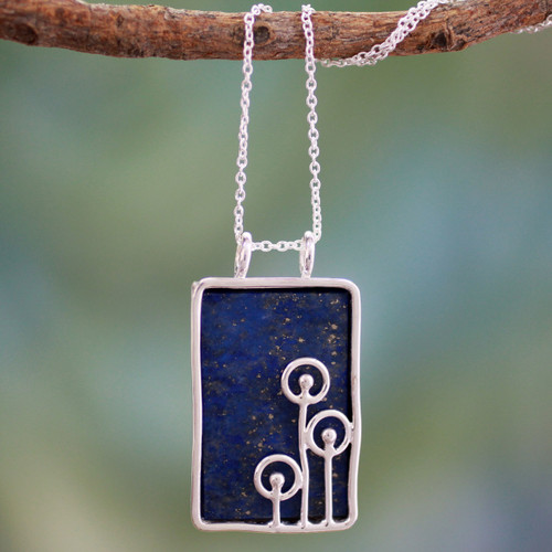 Modern Sterling Silver and Lapis Lazuli Necklace 'Star Shower'