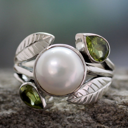 Pearl and Peridot Cocktail Ring from India Jewelry 'Mumbai Romance'