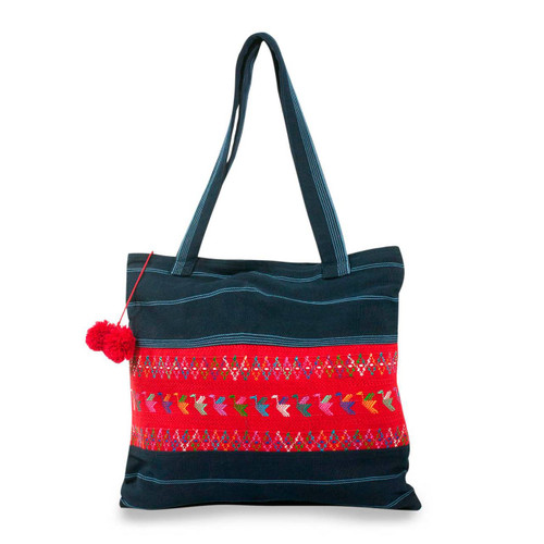 Handmade Central American Cotton Tote Bag 'Blue Birds of Toliman'