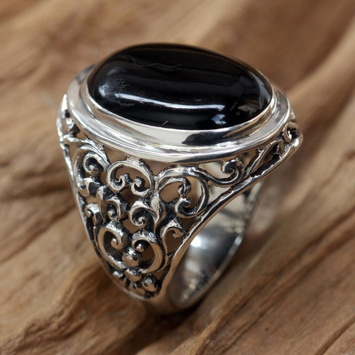 Men's Handmade Sterling Silver and Onyx Ring 'Song of the Night'