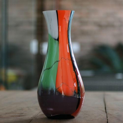Brazilian Murano Inspired Glass Vase in Tropical Tones 'Millennial Colors'