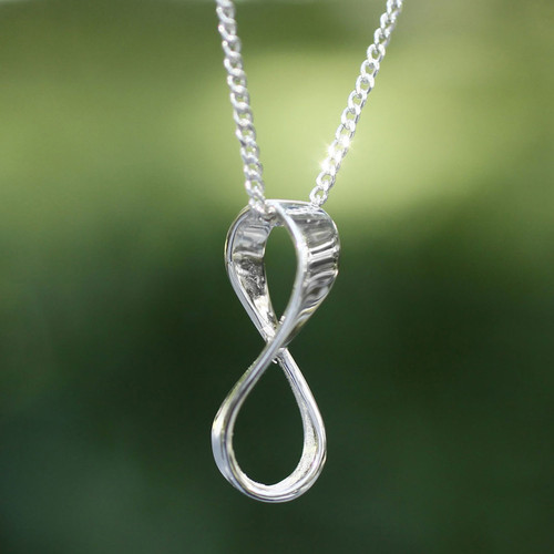 Hand Crafted Taxco Silver Pendant Necklace 'Maya Infinity'