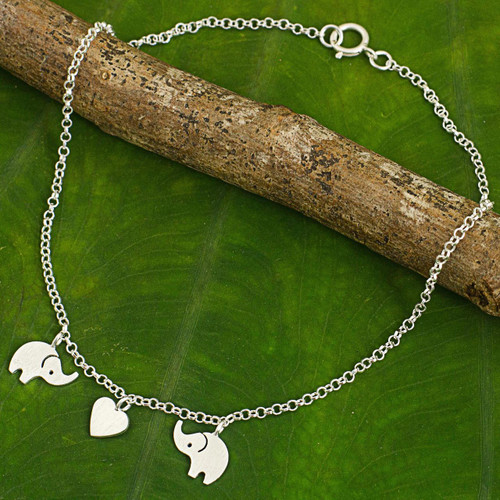 Handcrafted Thai Sterling Silver Heart and Elephant Anklet 'Elephant Romance'