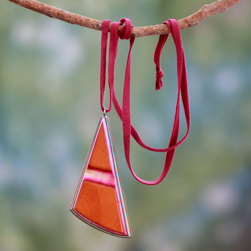 Wood and Leather Necklace Handcrafted Modern Jewelry  'Modernity'