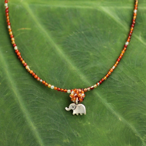 Hand Made Beaded Carnelian Necklace 'Elephantine Charm'