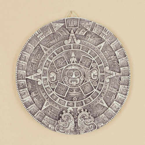 Ceramic Wall Plaque Museum Replica Handmade Mexico 'Aztec Calendar in Beige'