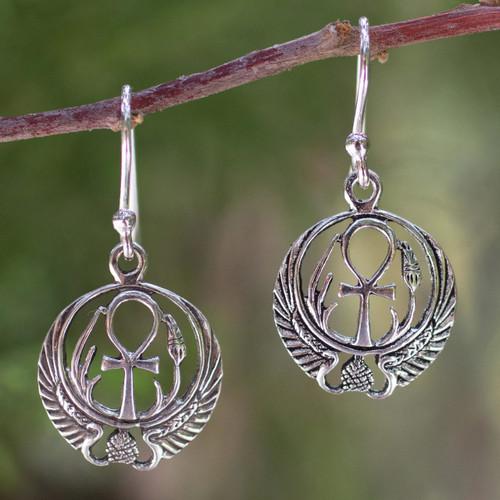 Sterling silver dangle earrings 'Eternity's Key'