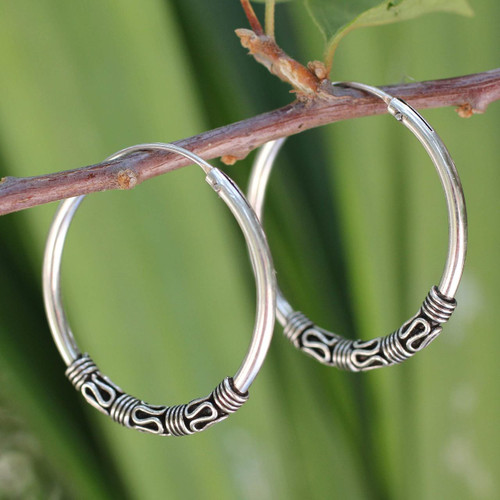 Fair Trade Sterling Silver Hoop Earrings 'Traditional Thai'