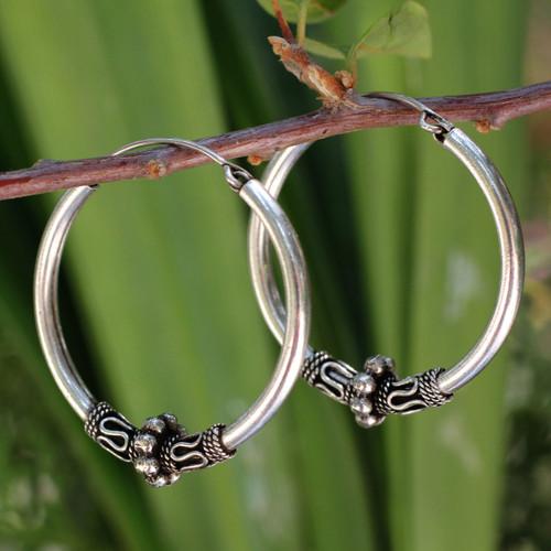 Handcrafted Sterling Silver Hoop Earrings 'Old Siam'