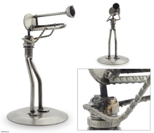 Auto part sculpture 'Rustic Jazz Trombone'