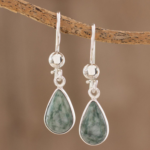 Fair Trade Sterling Silver Dangle Jade Earrings 'Pale Green Tears'