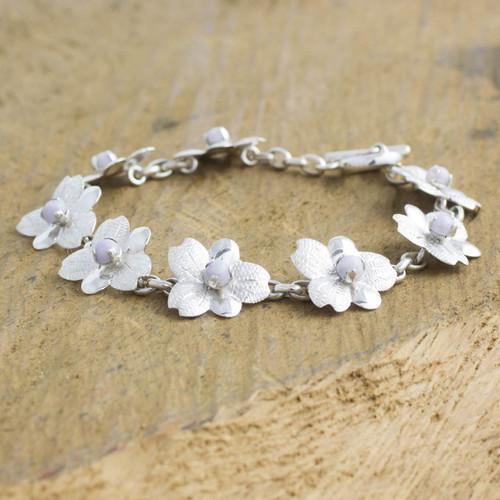 Lilac jade flower bracelet 'Quetzaltenango Blossoms'