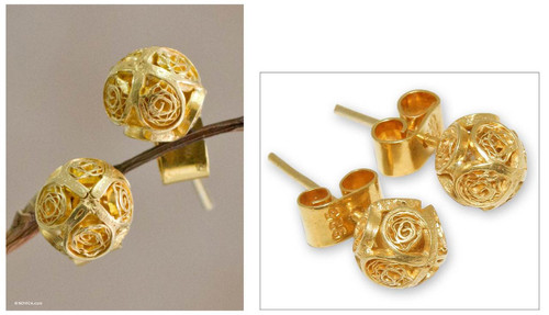 Handcrafted Gold Plated Filigree Stud Earrings 'Morning Light'