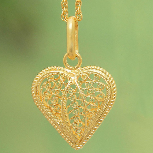 Gold Plated Filigree Heart Necklace 'Lace Sweetheart'