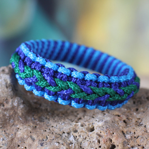 Hand Crafted African Bangle Bracelet 'Blue and Green Hausa'